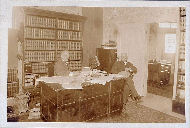 James Milton Mannon working hard in his Ukiah law office, circa 1900. The firm's roots go back to the 1880s.